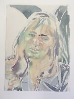Portrait,Swedish Girl & Umbrella.Soft Colours.Pretty Blonde.Original Painting