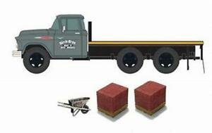 HO Scale CMW 40007 1957 Chevy Flatbed Birch Bros. Masonry with Brick Lds & Tools