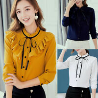 Women OL Work Office Long Sleeve Bow Tie Ruffles Chiffon Blouse Tee Shirt Tops