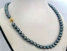 "Pretty Fashion 8mm Black Akoya Shell Pearl Round Beads Necklace 18"" AAA"