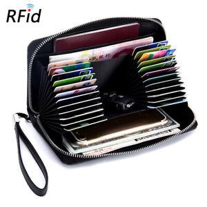 RFID Blocking Wristlet Clutch Wallet Card Holder Travel Leather Purse Men Women