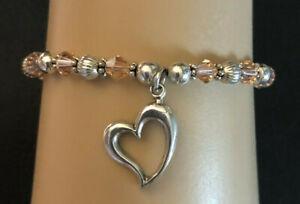 "Sterling Silver Bracelet Pink Swarov Crystal Bead Heart Charm 7+"" 8g 925 #942"
