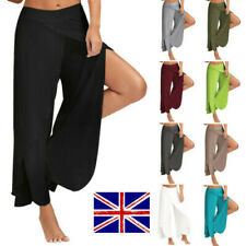 UK Ladies Wide Leg Yoga  Flowy Layered Trousers Split  Pants Womens Palazzo BOHO