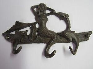 New Cast Iron Mermaid With Dolphins Key Rack MA-1036 3 Hooks Nautical
