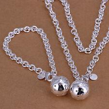 925 Stamped Sterling Silver Filled Ball Dangle Necklace/Bracelet Sets S412