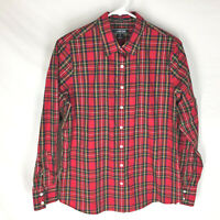 LANDS' END SHIRT Womens Size 8 No-Iron Supima Plaid Red Holiday Colors NEW