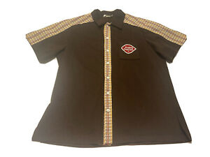 Vintage Dairy Queen Brown Uniform Button Down Short Sleeve Top XL Ice Cream