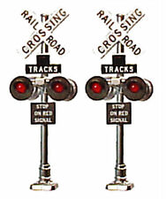 HO Scale Grade Crossing Signals Brass Red LEDs Tomar H862