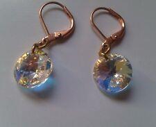 Rose gold Good for sensitive skin Earrings 12mm clear ab rivoli Swarovski drop.