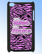 IPOD TOUCH 4 PINK ZEBRA PRINT PERSONALISED  REAR COVER / CASE - GIFT & NAMED TOO