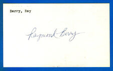 RAYMOND BERRY autographed Index Card  Baltimore Colts - HOF