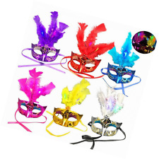 Tinksky Feather Mask Mardi Gras Masquerade Mask Party Feather LED Masks 6-Pack (