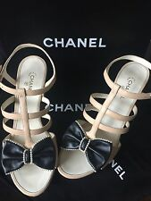 16 NIB CHANEL Nude & Black Leather Pearls Bow Sandals Heels CC Logo 39 NEW 8 US