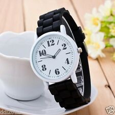 Fashion Men's Women's Silicone Rubber Sports Analog Quartz Wrist Watch Black New