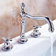 Chrome Dual Cross Handle Vanity Sink Mixer Tap Widespread Bathroom Basin Faucet
