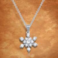 1.50 Ct Round Cut Diamond Snowflakes Pendant Necklace 14k White Gold Finish