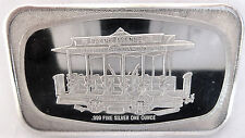 1972 CLEVELAND OHIO MADISON MINT .999 FINE SILVER CABLE CAR ART BAR 1 TROY OZ