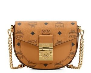 NWT MCM $775 Mini Patricia Round Crossbody Shoulder Bag in Visetos, Cognac