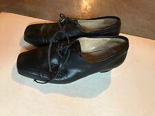 Durea Women's Black Square Toe Leather Oxford Heels Shoes - SZ 7.5M 7.5