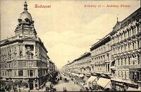 Budapest Ungarn Magyarország alte AK ~1910 Andrássy ut Straße Street ungelaufen