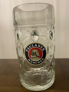 PAULANER MUNCHEN 1 Liter Dimpled German Munich Beer Stein Glass Mug Oktoberfest