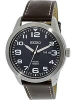 Seiko Solar Silver Stainless Case Brown Leather Strap Men's Watch SNE475P1 £180