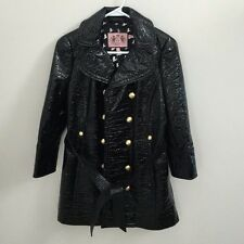 Juicy Couture Patent Leather Trench Coat  Black Jacket Size S NWOT