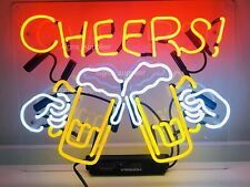 Cheers Real Neon Sign Beer Bar Light Home Decor Hand Made Artwork