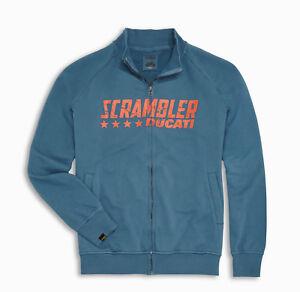 Ducati Scrambler Bleu Étoile Sweat Veste Sweatjacket Pullover Bleu Neuf
