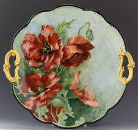 LIMOGES ANTIQUES HAND PAINTED POPPIES CAKE PLATE CHARGER