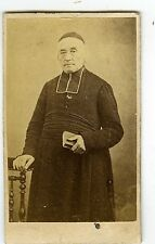 PHOTO CDV dos nu portrait d'un religieux prêtre curé religion vers 1870 albumen