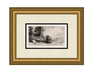 "Striking Alphonse LEGROS ORIGINAL 1800s Etching ""The Wayfarer"" SIGNED Framed COA"