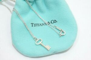 Tiffany & Co. Sterling Silver Mini Oval Key Pendant Necklace 18""