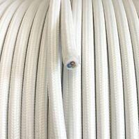 3x0,75 H03VV Textilkabel, Textilfaser umflochtene Leitung, rund, weiß