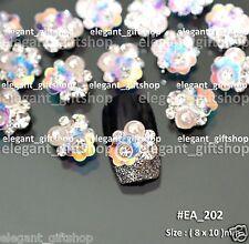 #EA202 White Iridescent Flower Bling Bling Alloy Nail Art Tips Decoration Pearl