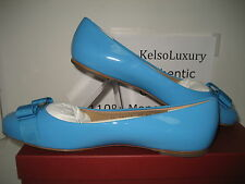 $525 NEW Salvatore Ferragamo Varina US 10 Blue Patent Leather Ballet Flat Shoes