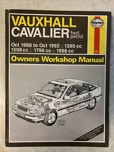 vauxhall cavalier Haynes Workshop Manual 1988-92 1.4 1.6 1.8 2.0