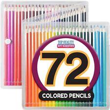 "Pencils Set Color Case 7"" Pack Of 72 Skin Tones Neon Bright Metallic Blues"
