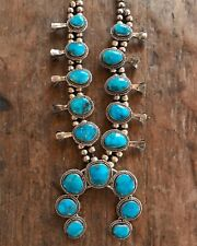 Vintage Native American Indian Navajo  Silver Turquoise Squash Blossom Necklace