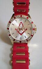 Men's MASON Red/Gold Finish Silicone Band Bling Fashion Wrist Watch