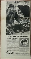 """Exide Car Batteries, Say """"Never Again"""" and Mean It! Vintage Advertisement 1960"""
