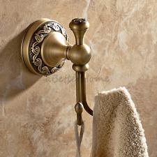 Retro Antique Brass Wall Mounted Robe Coat Hat Hanger Bathroom Double Towel Hook
