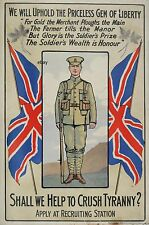 WW1 RECRUITING POSTER BRITISH ARMY CRUSH TYRANNY ENLIST NOW NEW A4 PRINT