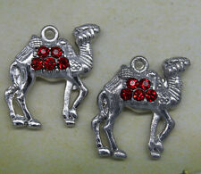 Free shipping 6pcs retro style Red crystal  camel  alloy charm pendants 21*23mm