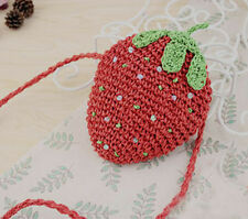 Cute Small Strawberry Lolita/ Summer/ Beach/ Festival Straw Woven Shoulder Bag