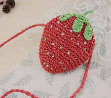 Cute Small Strawberry Lolita/ Summer/ Beach/ Festival Straw Woven Shoulder Bag