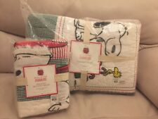 2pc Pottery Barn Kids Snoopy Peanuts Christmas Holiday Twin Quilt Sham🌲🎁