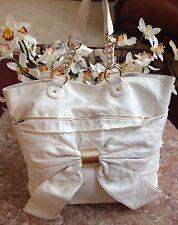 DEUX LUX Fuschia Cream Bow Front Shopper Tote Satchel Messenger Purse Handbag