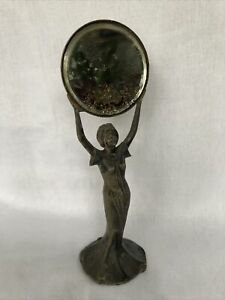 Antique Spelter Art Deco Woman Holding A Beveled Edge Mirror