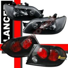 02 03 Mitsubishi Lancer LS ES OZ Headlights & Tail Lights Black